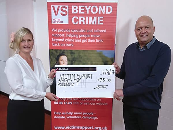 Money Raised for Victim Support South Yorkshire